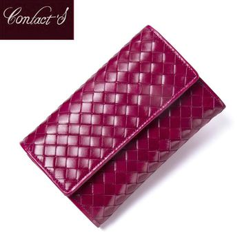 Contact's Classic Sheepskin Weave Women Wallets Purse Female Original Leather Handmade Woven Lamb Leather Wallet Ladies Clutch