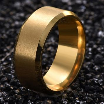 Titanium Steel  Finger Ring Gold Color Ring for Men and Women Popular Jewelry Free Shipping Wedding Bridal Gift G10