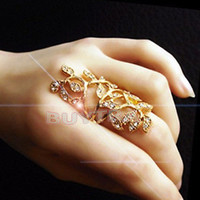 1/2X Fashion Women's Plated Crystal  Leaf Above Knuckle Finger Ring Set Nice Tb