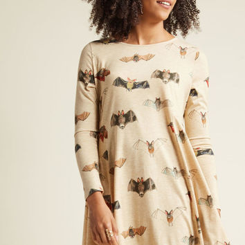 Pepaloves Bat'll Do Long Sleeve Shift Dress