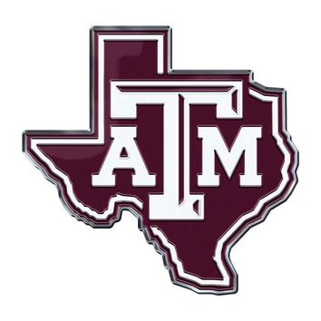Texas A&M Aggies Auto or Hard Surface Emblem Decal NCAA Licensed (State Shape)