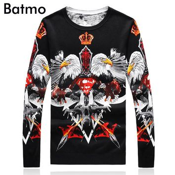 Batmo 2017 new arrival autumn&winter fashion high quality print casual men's sweater,casual sweater men,plus-size M-4XL 9137