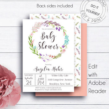 Baby Shower Editable Template, Floral Wreath, Baby Girl, Baby Boy, Invitation Template, Boho Baby Shower, Watercolour, Printable, Editable