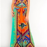 BOHO INDIE MOROCCO VINTAGE Y 70'S STRAPLESS BELTED PAISLEY PALAZZO JUMPSUIT