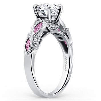 "Kirk Kara ""Dahlia"" Marquise Cut Pink Sapphire Diamond Engagement Ring"