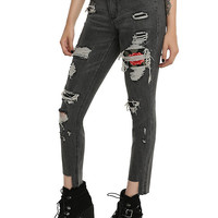 Black Destructed Rose Patch Skinny Jeans