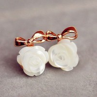 Pearl Flower and Golden Bow Earrings