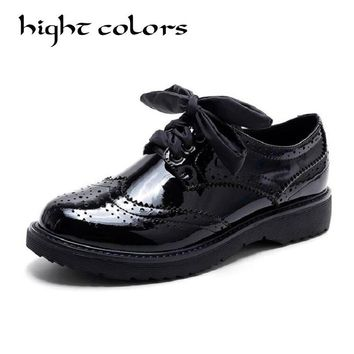 Women Flats Genuin Leather Oxford Shoes For Women Big Woman Size Designer Vintage flat Shoes Round Toe Creepers Casual Shoes