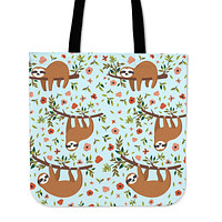 Floral Sloth Linen Tote Bag