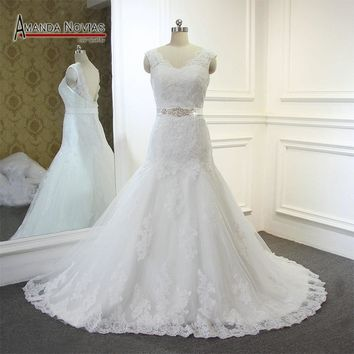 Custom Order Wedding Dress Real Work 100% High Quality With Beading Belt