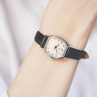 Minimalist women wristwatch vintage polygon case Ray, woman watch black white, watch for women mechanical Soviet, premium leather strap new
