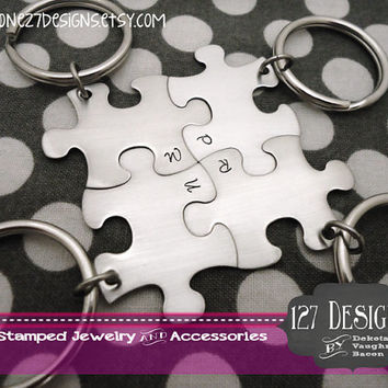 Personalized Set of 4 Initial Puzzle Piece Key Chains -Bridesmaids - Best Friends - Hand Stamped
