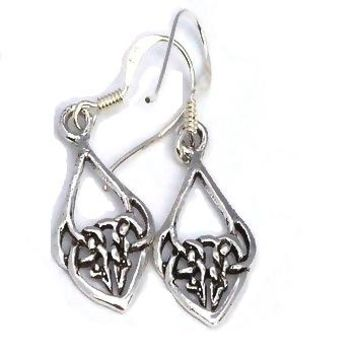 Sterling Silver Elongated Celtic Knotted Drop Dangle Earrings