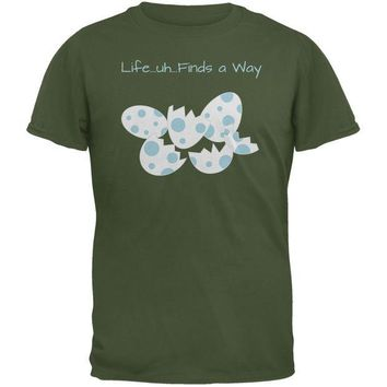 LMFCY8 Jurassic Dino Eggs Life Finds a Way Military Green Adult T-Shirt