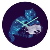 Budi Kwan Space Cat And The Moon Round Clock