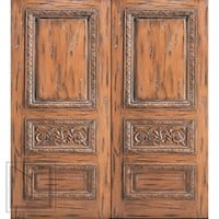 Tuscany Style Carved Prehung Double Door, Solid Mahogany