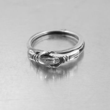 Sterling Fede Gimmel Ring, Clasped Hands Betrothal Eternity Sweetheart Puzzle Ring, Mexico Sterling Ring, Wedding Band Size 7.50