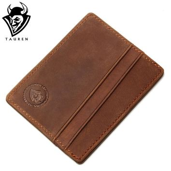 2017 Travel RFID Wallet Card Holder Vintage 100% Genuine Leather Porte Carte Front Pocket Slim Card Wallet Credit Card Holder