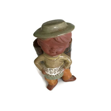 Pottery Planter, Succulent Planter, Pottery Figurine Planter, Pottery Figurine, Boy with Basket Planter