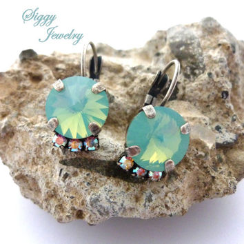 Pacific Opal Earrings made with 10mm Swarovski Elements, AB Accents, LOVE My OPALS, Sea Foam Green, Mint Opal, Siggy Jewelry, Free Shipping