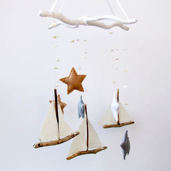 Baby Mobile - Sailboat Mobile - Baby boy mobile -  ship mobile - Wooden baby mobile - Nautical Nursery - READY TO SHIP