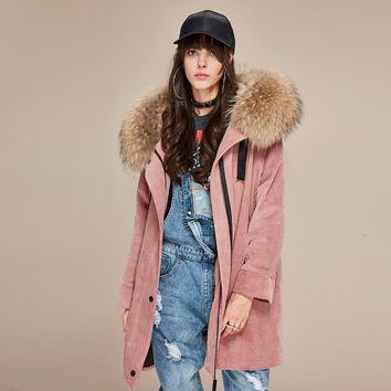 Fashion new women's parkas detachable liner real raccoon fur oversize winter jacket corduroy coat loose clothing