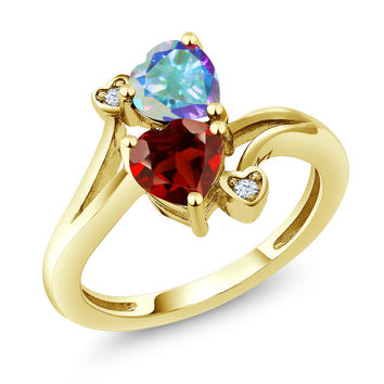 1.88 Ct Red Garnet Mercury Mist Mystic Topaz 18K Yellow Gold Plated Silver Ring