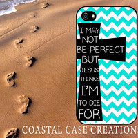 Turquoise Chevron Cross Quote Apple iPhone 4 and 5 Hard Plastic or Rubber Phone Case Cover Original Design