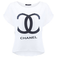 Anomalous Hem White Chanel T-shirt [NCTD0043] - $31.00 :
