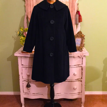 50s Vintage Coat, 1950s Wool Coat, Black Swing Coat, S/SM, Hollywood Glam, Notched Collar, Tapered Sleeves, Perm Back Pleat, Minimalist Coat