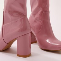 Raya Pointed Toe Ankle Boots in Pink Patent