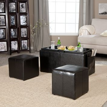 Hartley Coffee Table Storage Ottoman with Tray - Side Ottomans & Side Pocket | www.hayneedle.com