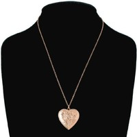 Rose Gold Tone Metal Photo Locket Pendant Necklace Flower Heart