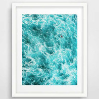 Ocean art, wall prints, ocean waves, cool posters, ocean photography, beach art, large wall art, turquoise blue, nautical bathroom decor