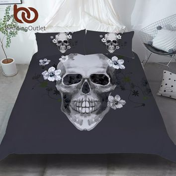 Sugar Skull Bedding Set King Size Black and White Duvet Cover Floral Print Home Textiles 3 Pcs