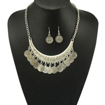 PEAPIX3 Gypsy Bohemian Beachy crescent Coin Fringe Necklace JEWELRY SET Rhinestone Silver Bib Coin Ethnic Turkish = 1928668420