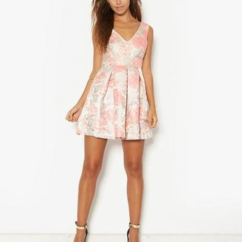 Pink Soda Floral Jacquard Prom Dress | BANK Fashion