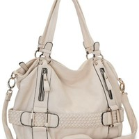 My Associates Store - Cream Weave Pattern Belt Accent Double Handle Top Closure Soft Hobo Bowler Satchel Office Tote Shoulder Bag Handbag Purse