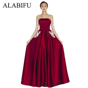 ALABIFU Long Summer Dress Women 2018 Sexy Maxi Strapless Dress Elegant Wedding Bridesmaid Party Dress Plus Size 4XL Red vestidos