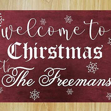 CHRISTMAS FAST SHIPPING- Welcome to Our Christmas Personalized Custom Family Name Winter Wall Decoration Indoor Kitchen Bedroom Living room Decal #M02