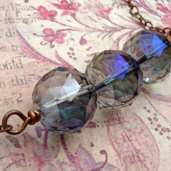 Aurora Borealis Quartz Ombre Necklace Copper Chain Chunky Crystal Bead Necklace Fall Jewelry Purple Crystal Bohemian Jewelry FREE SHIPPING