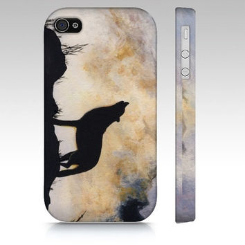 iPhone4 Case - Summoning- wolf smartphone cover howl misty mountains silhouette canvas art majestic painting phone landscape Oladesign