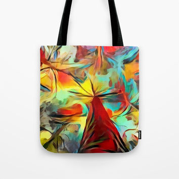 Red forest, colorful sky view, abstract warm artwork, red and yellow colors, nature themed pattern Tote Bag by Casemiro Arts - Peter Reiss