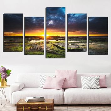 Modular Pictures Wall Art Canvas Painting Prints 5 Pieces Sunset Landscape Poster Room Home Decor FA633