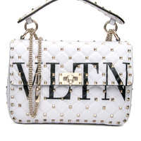 White Rockstud Spike It Medium Chain Bag