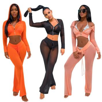 Sexy 2 Piece See Thru Mesh Cover up Pants Set