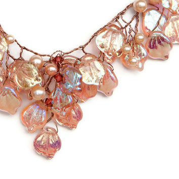 Peach Bib Necklace, Bridal Necklace, Vintage Inspired Jewelry