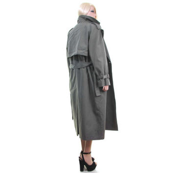 LONDON FOG Trench coat spy coat Sage Green 80s coat gray coat 3M Lined raincoat epaulettes rain coat London Fog coat women's coat oversize s