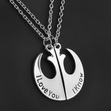 Star Wars 'I Love You' 'I Know' Alloy Silver Plated Pendant Necklace for Women