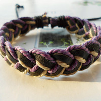 Spring Gift Fashion Multilayer Colorful Braided Blue Cotton ropes Woven Brown Leather Wrap Bracelet W-54